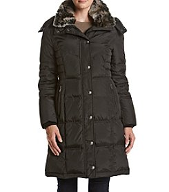 London Fog® Diagonal Seaming Coat With Faux Sherpa Collar