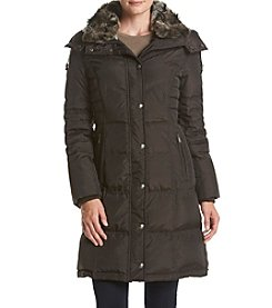 London Fog® Petites' Diagonal Seaming Coat With Faux Sherpa Collar