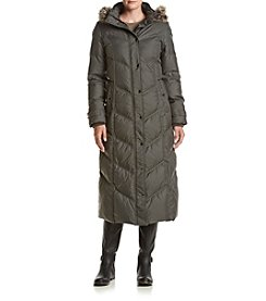 London Fog® Chevron Maxi Coat With Faux Fur Hood