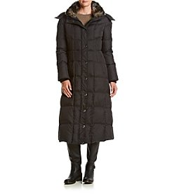 London Fog® Box Quilt Long Down Coat With Faux Sherpa Collar