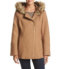 MICHAEL Michael Kors® Asymmetrical Zip Pant Coat With Faux Fur Hood