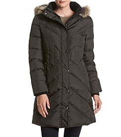 London Fog® Petites' Diagonal Seaming Faux Fur Hood