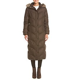 London Fog® Petites' Chevron Maxi Down Coat With Faux Fur Hood