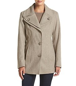 London Fog® Petites' Single Breasted Double Collar Coat