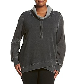 Calvin Klein Performance Plus Size Crossover Funnel Neck Pullover Top