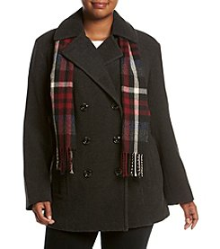 London Fog® Plus Size Double Breasted Notch Collar Coat With Scarf