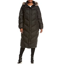 London Fog® Plus Size Quilt Long Coat With Faux Fur Hood