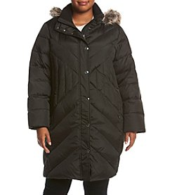 London Fog® Plus Size Diagonal Seaming Coat With Faux Fur Hood
