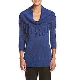 Notations® Petites' Sparkle Fringe Cowl Neck Sweater