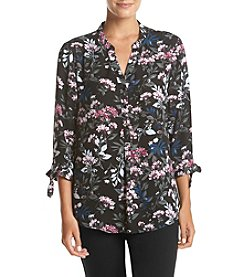 Ivanka Trump® Floral Print Button Front Georgette Blouse