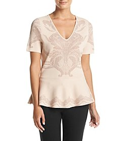 Ivanka Trump® Printed V-Neck Peplum Sweater