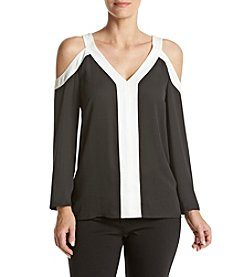 Vince Camuto® Colorblocked Cold Shoulder Top