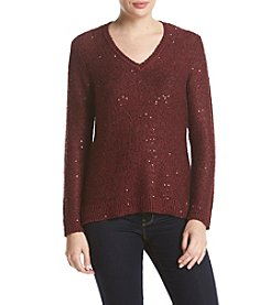 Jones New York® Sequin Yarn V-Neck Sweater