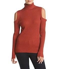 Cupio Cold Shoulder Turtle Neck Sweater