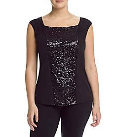Relativity® Plus Size Sequin Front Shell