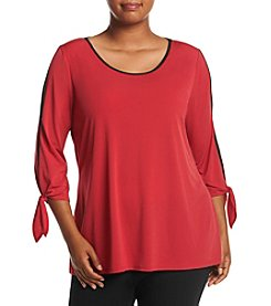 Relativity® Plus Size Cold Shoulder Tie Sleeve Top