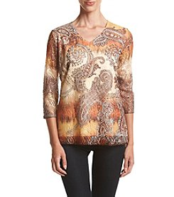 Laura Ashley® Petites' Tiered Paisley Top