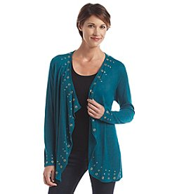 Laura Ashley® Petites' Framed Grommet Cardigan