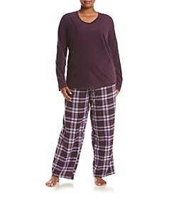 Intimate Essentials® Plus Size Fleece V-Neck Pajama Set