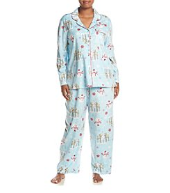 KN Karen Neuburger Plus Size Printed Fleece Pajama Set