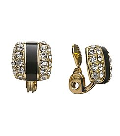 Anne Klein® Goldtone Jet And Crystal Button Clip Earrings