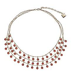 Anne Klein® Goldtone Shaky Three Row Necklace