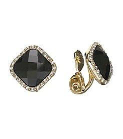 Anne Klein® Framed Jet Button Clip Earrings