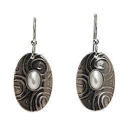 Silver Forest® Etched Oval With Simulated Pearl Earrings