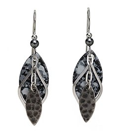 Silver Forest® Layered Hammered and Openwork Diamond Shape Drop Earrings
