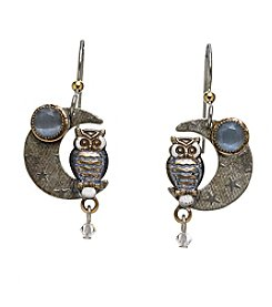 Silver Forest® Owl On Moon Earrings