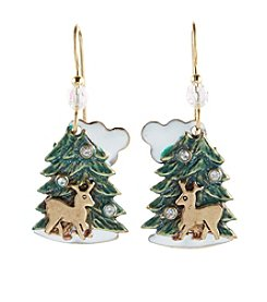 Silver Forest® Holiday Tree And Reindeer Earrings