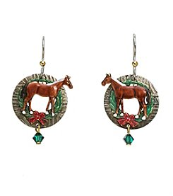Silver Forest® Holiday Horse And Wreath Earrings