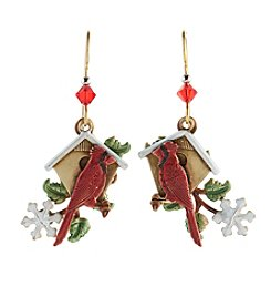 Silver Forest® Cardinal And Birdhouse Earrings