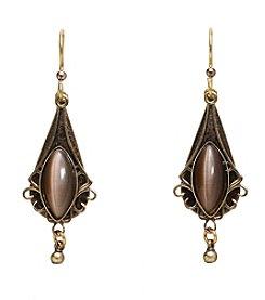 Silver Forest® Vintage Marquis Brown Teardrop Earrings