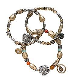 Ruff Hewn Three beaded Stretch Bracelets