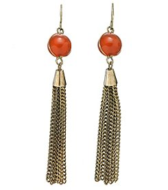 Ruff Hewn Wrapped Rust Bead Fringe Earrings