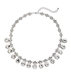 BT-Jeweled Teardrop Crystal Rhinestone Necklace