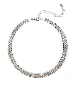 BT-Jeweled Crystal Rhinestone Stiff Three Row Collar Necklace
