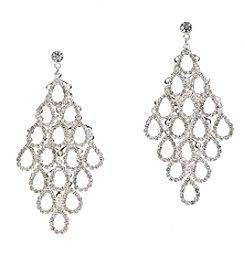 BT-Jeweled Crystal Rhinestone Kite Chandelier Earrings