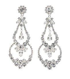 BT-Jeweled Crystal Rhinestone Linear Chandelier Earrings