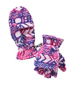Miss Attitude Girls' 4-16 Warm Printed Fleece Flip Gloves
