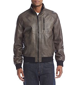 Calvin Klein Men's Faux Leather Perforated Bomber Jacket