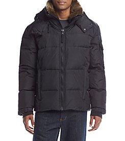 S13 Men's Matte Jackson Hooded Down Puffer Jacket With Faux Fur Collar