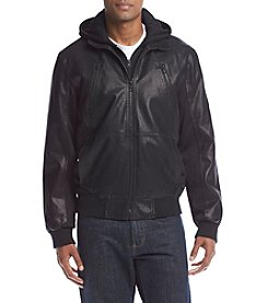GUESS Men's Faux-Leather Mixed Media Bomber with Removable Hood and Bib