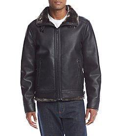 GUESS Men's Faux Leather Jacket with Fur