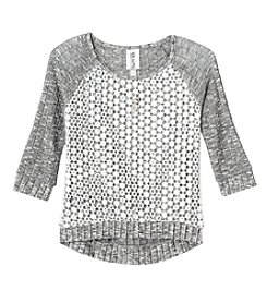 Beautees Girls' 7-16 Long Sleeve Sequin Front Sweater