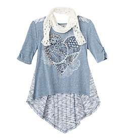 Beautees Girls' 7-16 3/4 Sleeve Heart Top with Scarf