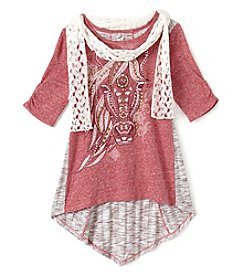 Beautees Girls' 7-16 3/4 Sleeve Horse Top with Scarf