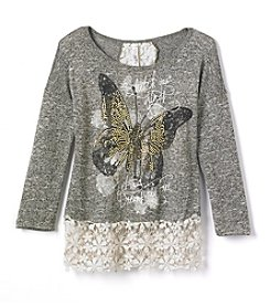 Beautees Girls' 7-16 Long Sleeve Butterfly Top