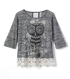 Beautees Girls' 7-16 Long Sleeve Owl Top